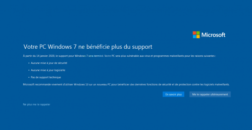Windows 7 ne beneficie plus du support !